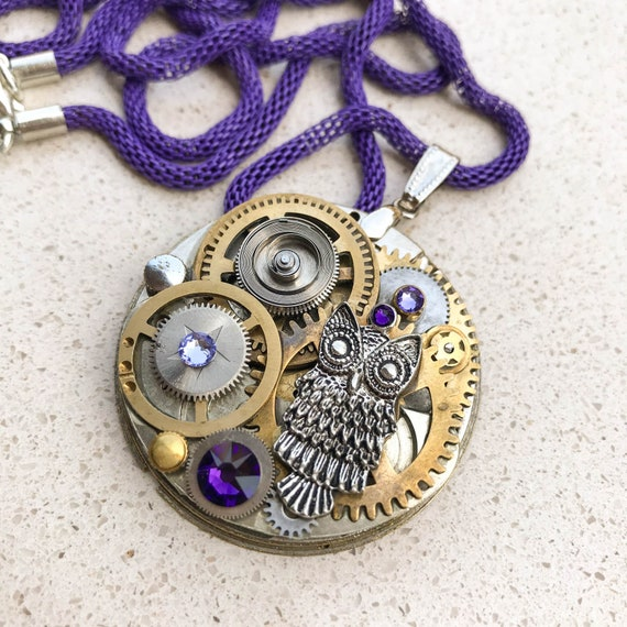 Large Medallion, Steampunk Pocket Watch Necklace, Owl, Mechanical Jewelry,  Watch Gears, Women Gift, Swarovski crystals