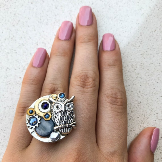 Steampunk Ring, Owl, Watch Movement, Adjustable Size, Cocktail, Mechanical Jewelry, Statement, Women Gift, Dark Blue Swarovski Crystals