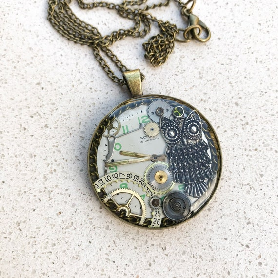Steampunk Necklace,  Large Medallion, Owl Pendant, Resin, Unique, Mechanical Jewelry, Statement, Watch Gears, Antiqued Brass, Women Gift