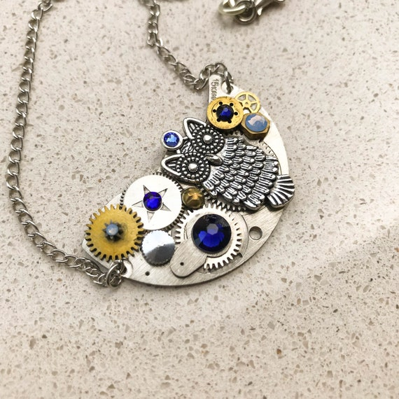 Half Moon Steampunk Necklace, Owl, Semicircle, Mechanical Jewelry,  Watch Gears, Antiqued Brass, Women Gift, Swarovski crystals