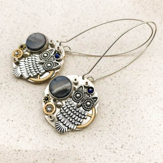 Steampunk Earrings, Owl, Long Hooks, Dangle, Drop, Statement, Mechanical  Jewelry,  Watch Gears, Women Gift, Blue Grey Swarovski crystals
