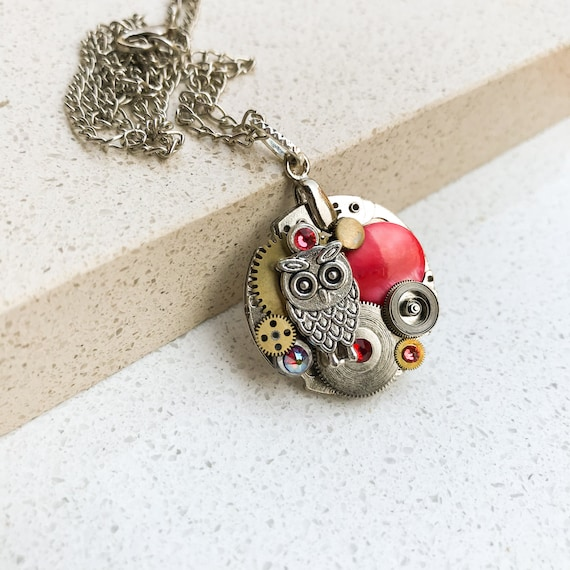 Steampunk Necklace, Owl, Vintage Boho Medallion, Mechanical Jewelry,  Watch Gears, Women Gift, Red Swarovski crystals