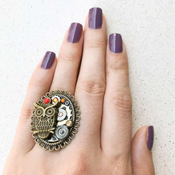 Steampunk Ring, Owl, Watch Gears, Adjustable Size, Cocktail, Mechanical Jewelry, Statement, Women Gift, Orange Swarovski Crystals