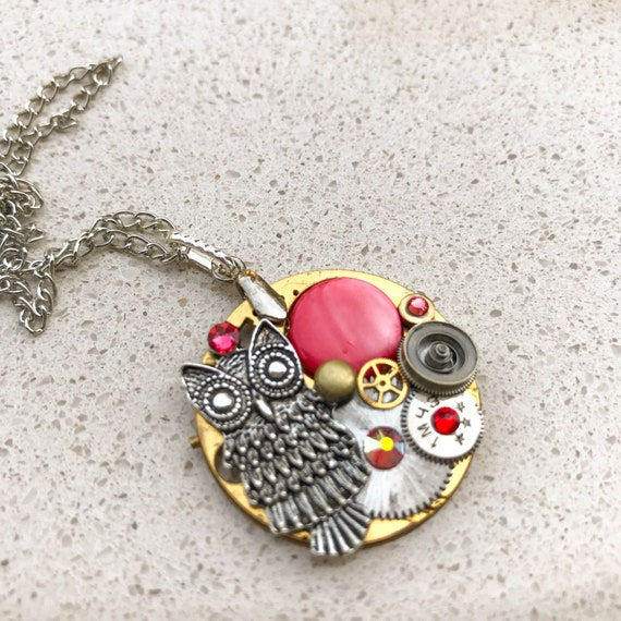 Steampunk Necklace, Owl, Vintage Boho Medallion, Mechanical Jewelry,  Watch Gears, Antiqued Brass, Women Gift, Swarovski crystals