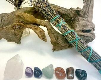 Chakra Balancing Set, 7 Crystals, Quartz, Amethyst, Sodalite, Avernturine, Tiger's Eye, Carnelian, Blood Stone with a Lavender Cedar Smudge