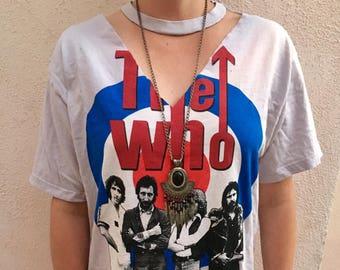 Vintage  'THE WHO' Choker Neck V Neck Dress - Soft - Fast Shipping!!!!