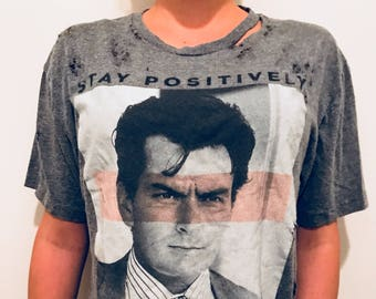 CHARLIE SHEEN Distressed Super Soft Graphic Screen Printed T-Shirt - Fast Shipping!!!!