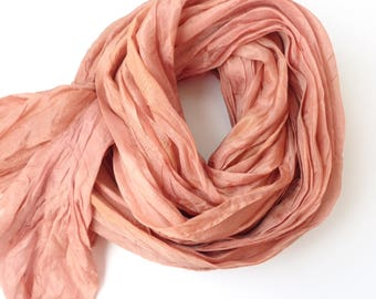 Salmon silk scarf salmon pink scarf scarf for women luxury scarf hand dyed silk scarf nature silk scarf lightweight silk scarf