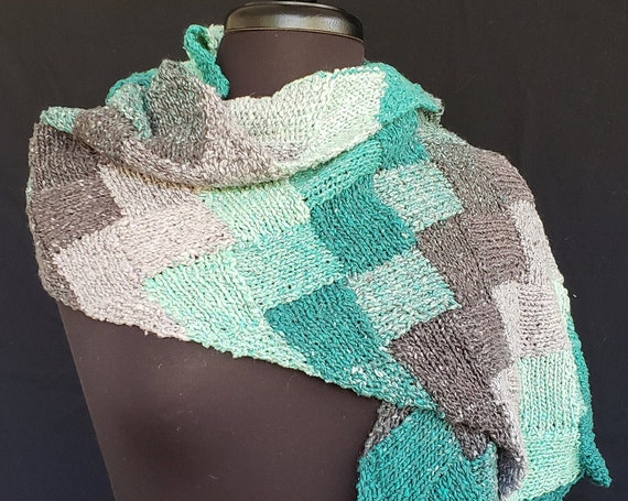 Shawl - Entrelac  - Uig Sea - Silk and Cotton