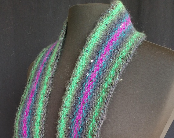 Scarf - Northern Lights - Linen Stitch - Wool blend with Sequins