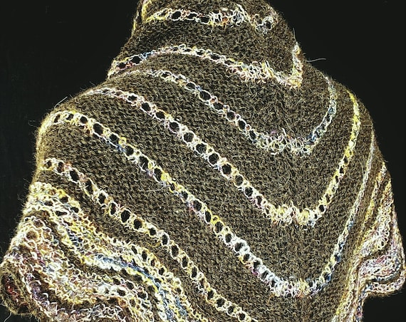 Shawl  - Triangular - Winter Rainbows - Natural Brown Alpaca with Mohair Accent