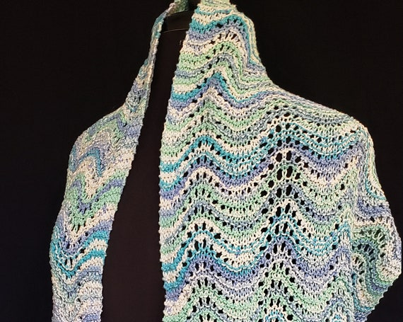 Shawl - Sea and Sky - Old Shale Lace in Cotton and Silk Blend
