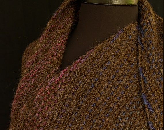 Shawl - Peat Browned Streams - Windswept - Local Alpaca with Wool Accent