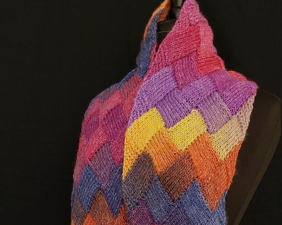 Shawl - Skye Rainbows - Entrelac  - Merino Wool
