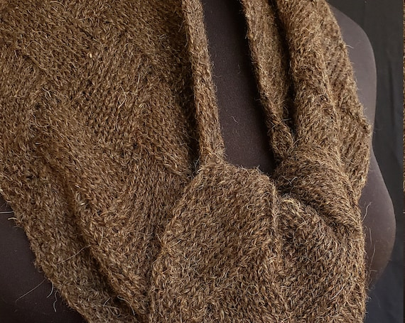 Shawl or Scarf - Entrelac  - Peat Bricks - Natural Brown Heather Alpaca