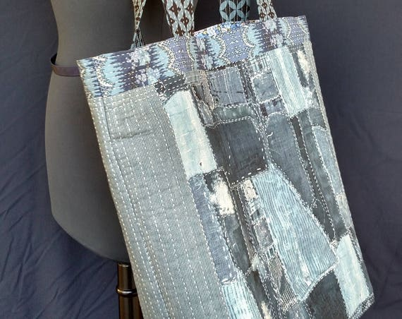 Tote Bag -  Dark Blue Jeans - Quilted -