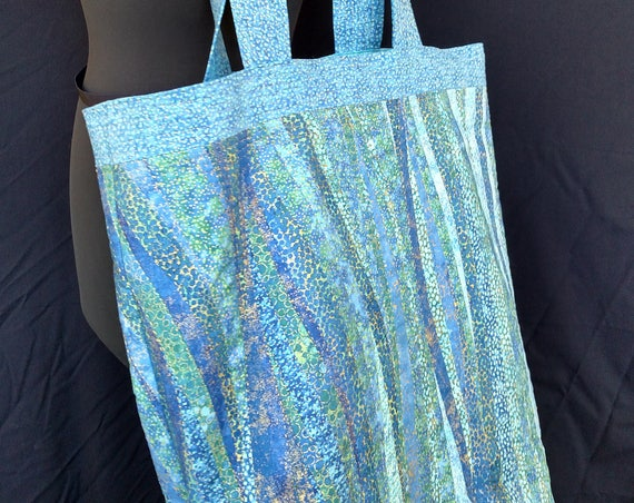 Tote Bag - Turquoise Ribbons - Quilted