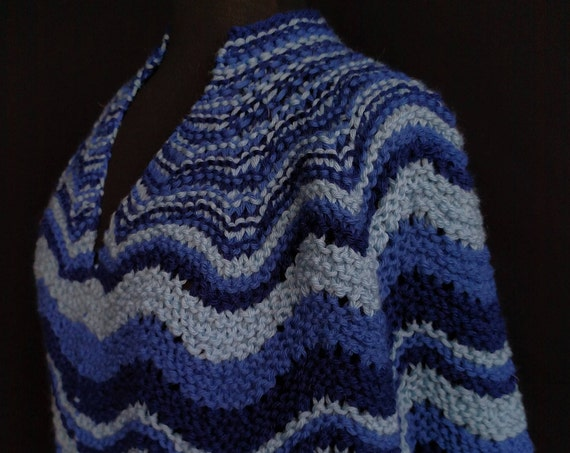 Shawl - Old Shale - Blue Blue Waves - Bulky Wool