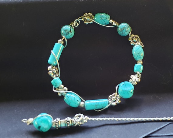 Shawl Pin - Turquoise Glass Beads with Silver Accents