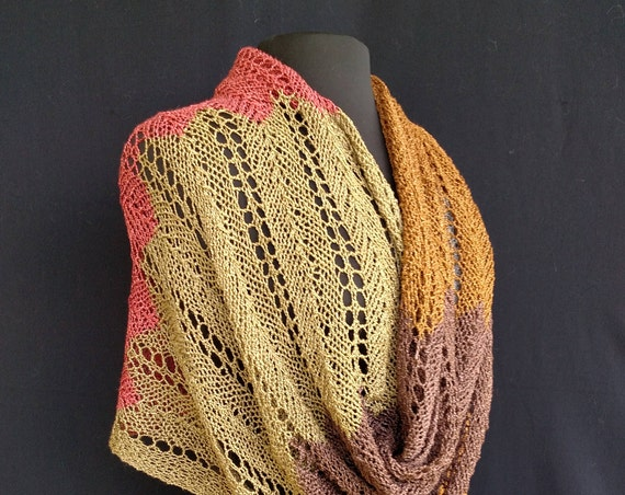 Shawl - Rectangular  - Fall in the Forest - Ribbons and Lace Design - Rayon