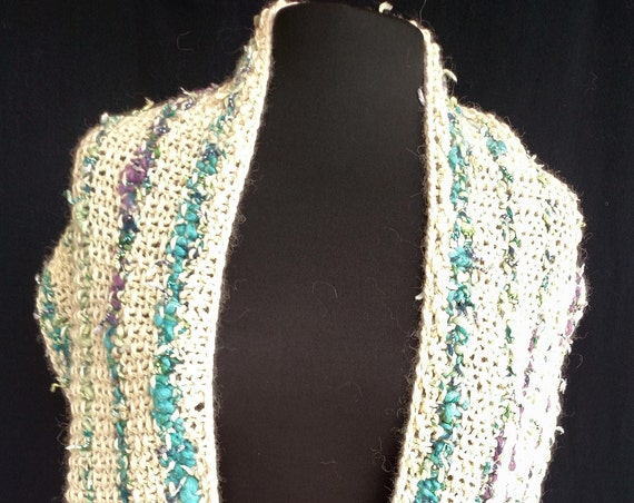 Shawl -  Fairy Wings - Celtic Carving Design - Natural White Alpaca with Turquoise Accent