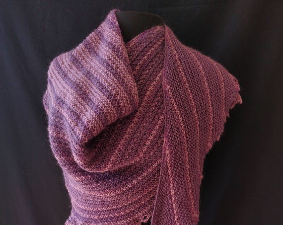 Shawl - Windswept - September Heather - Wool and silk blend
