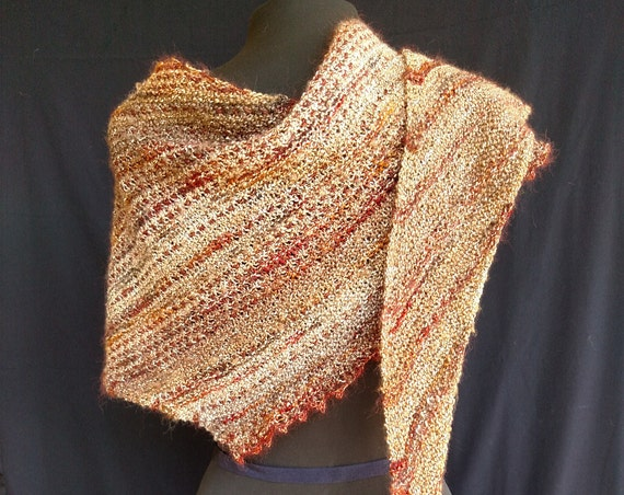 Shawl - Windswept- Loch Bay Beaches - Shaded brown English linen with rust brown Italian rayon