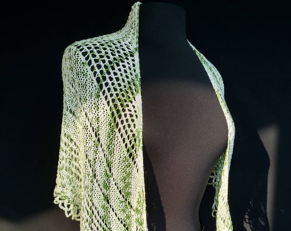 Shawl - Triangular  - Moss Ribbons - Sugar Cane Fiber Yarn
