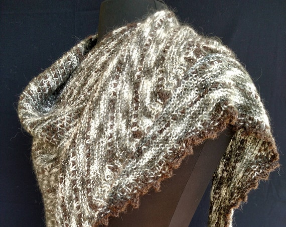 Shawl - Windswept - Snowy Glen - Mohair wool blend with alpaca accent