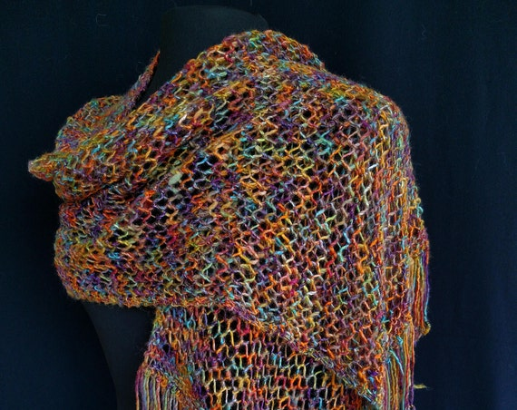 Shawl - Rectangular - Noonday Rainbows- Fisherman's Mesh Design - Wool and silk blend