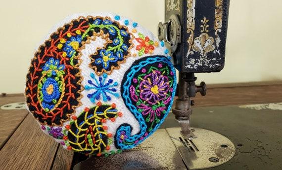Pincushion - Scottish Paisley - Hand Embroidered