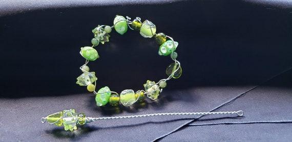 Shawl Pin - Shades of  Green in Lampwork