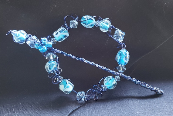 Shawl Pin - Blue and White Swirls with Clear Accent Bead and Wire