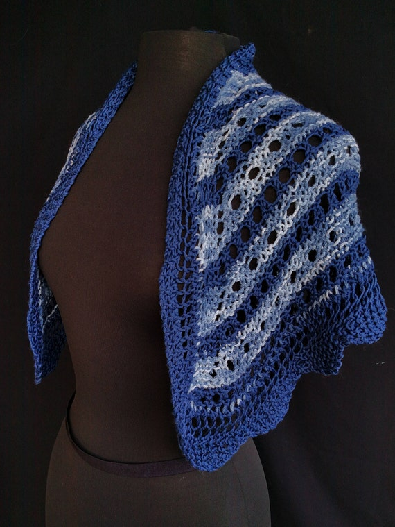Shawl - Triangular - Cloudy Day Blues  - Peruvian Cotton