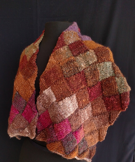 Shawl - Entrelac  - Fieldstone and Heather - Wool and Silk Blend