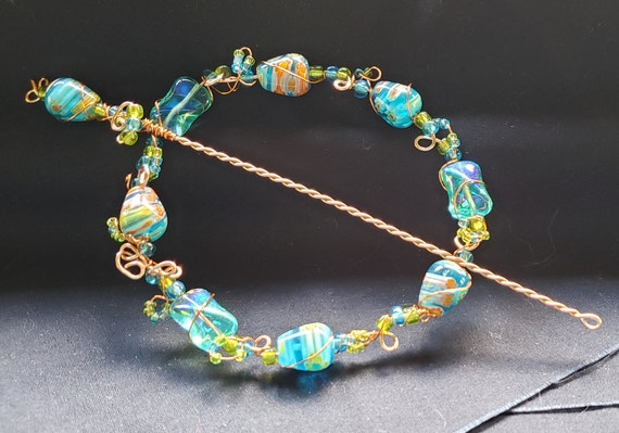 Shawl Pin - Turquoise Millefiore with Copper
