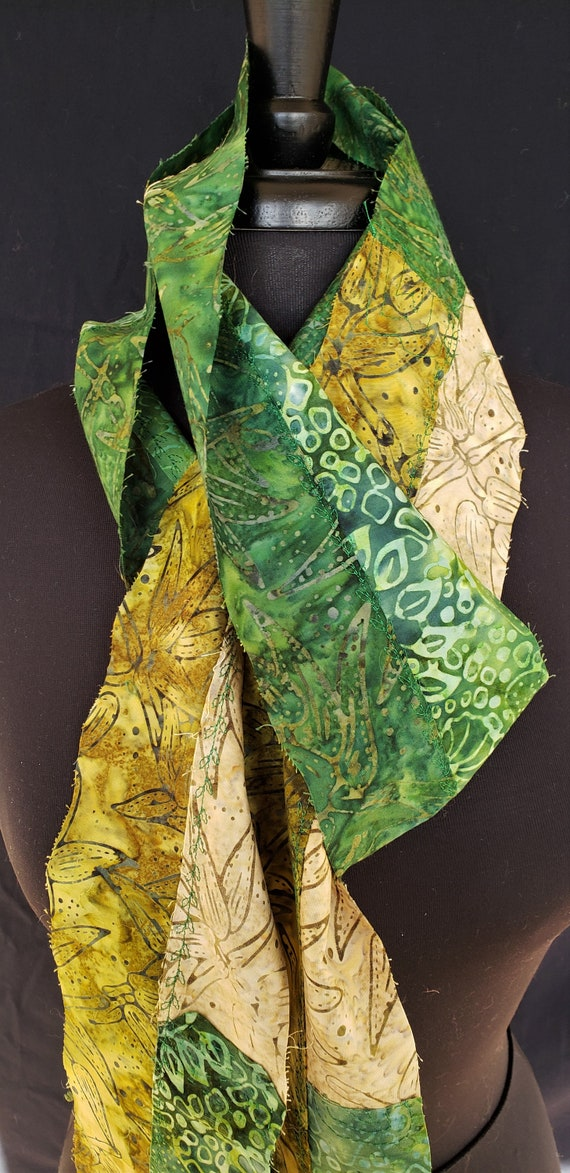 Scarf- Fairy Gardens - Assorted Batik Fabrics Cool Colors