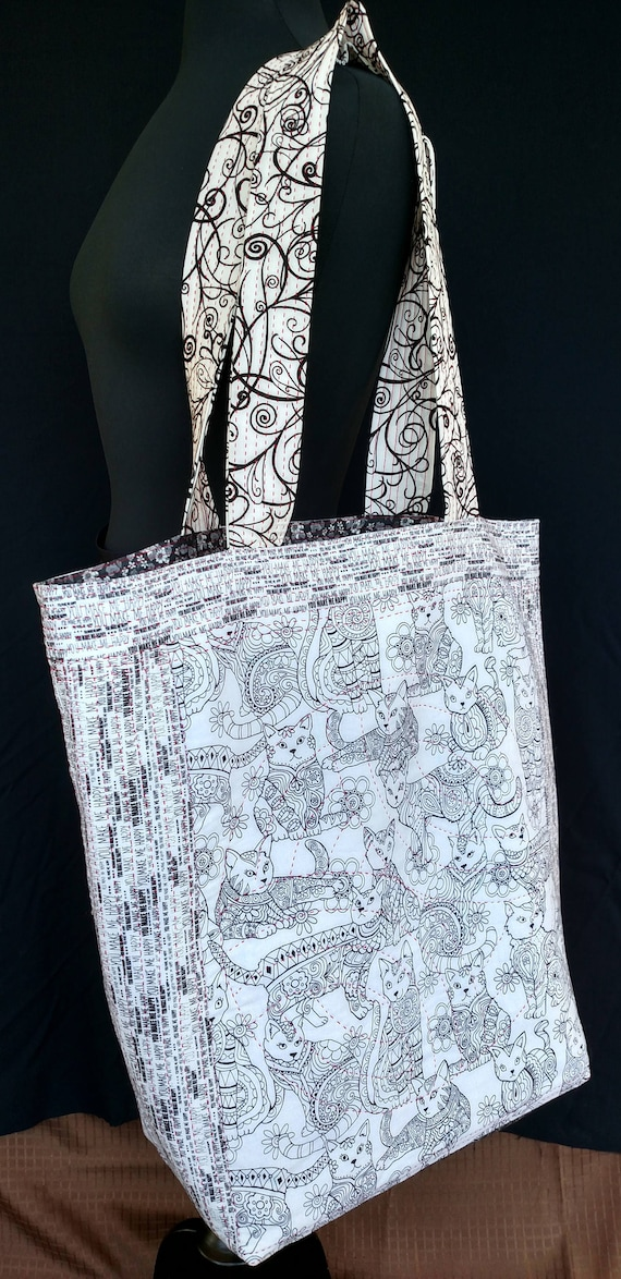 Tote Bag - Quilted - Zentangle Cats