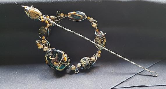 Shawl Pin - Black Feather Art Glass Beads
