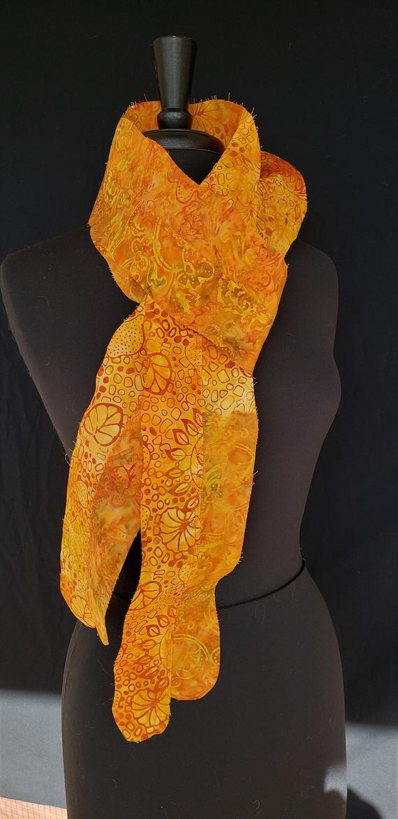Scarf- Fairy Gardens - Assorted Batik Fabrics Warm Colors