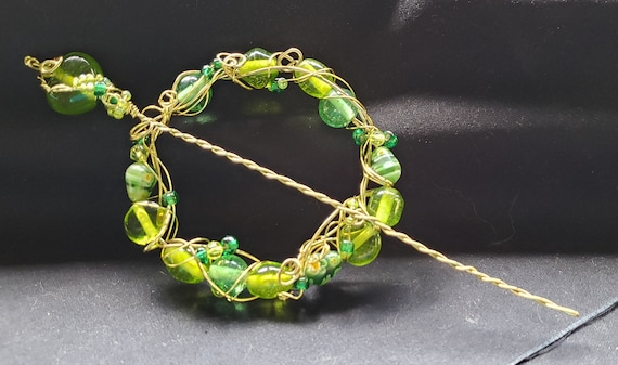 Shawl Pin - Spring Green and Millefiore Beads with Gold