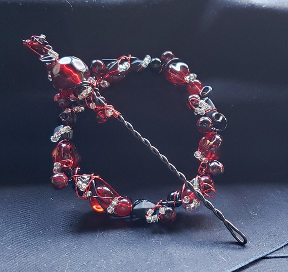 Shawl Pin - Wine Red with Crystal and Black