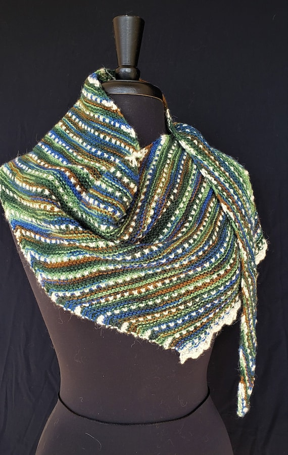 Shawl - Windswept  - Colors of Skye - Wool with Shetland accent