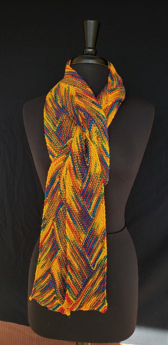 Scarf -  Neon Crayons - Celtic Braid