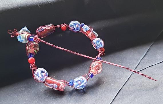 Shawl Pin - Rose and Blue Lampwork Beads