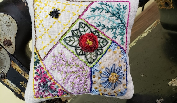Pincushion - Wee Crazy Quilt - Hand Embroidered