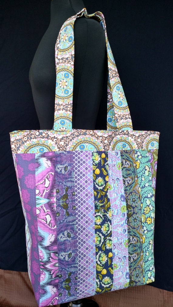Tote Bag - Quilted - Funky Purple Teal - Tula Pink