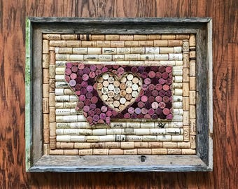 State heart wine cork art in Barnwood frame, rustic home decor, wine lover gift, Wine Lovers gift, Housewarming gift, Wedding gift