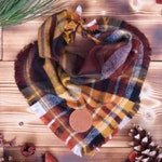 Cinnamon Spice // Plaid Flannel Frayed Dog Bandana // Puppy Scarf // Fall Dog Bandana // Tie on // Maroon & Gold