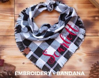 Embroidery + Bandana - Personalized Bandana Combo Red/Black - White/Black Buffalo Plaid Flannel Fall Frayed Tie On - Puppy Scarf - Pet Gift
